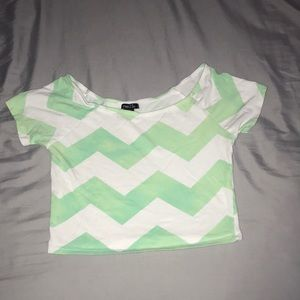 White and turquoise crop top